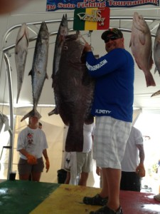 Capt. John with the 1st Place 95lbs Grouper 2013 Desoto Tournement